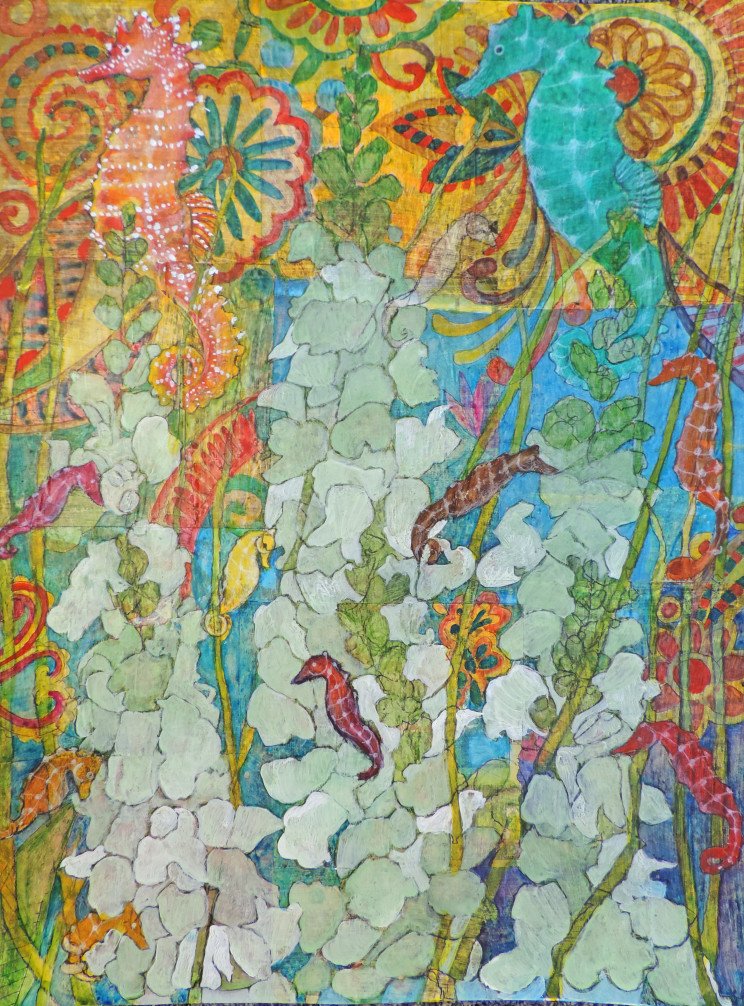 painting of seahorses and coral