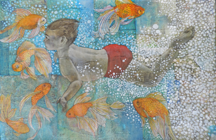 painting of a boy swimming with goldfish