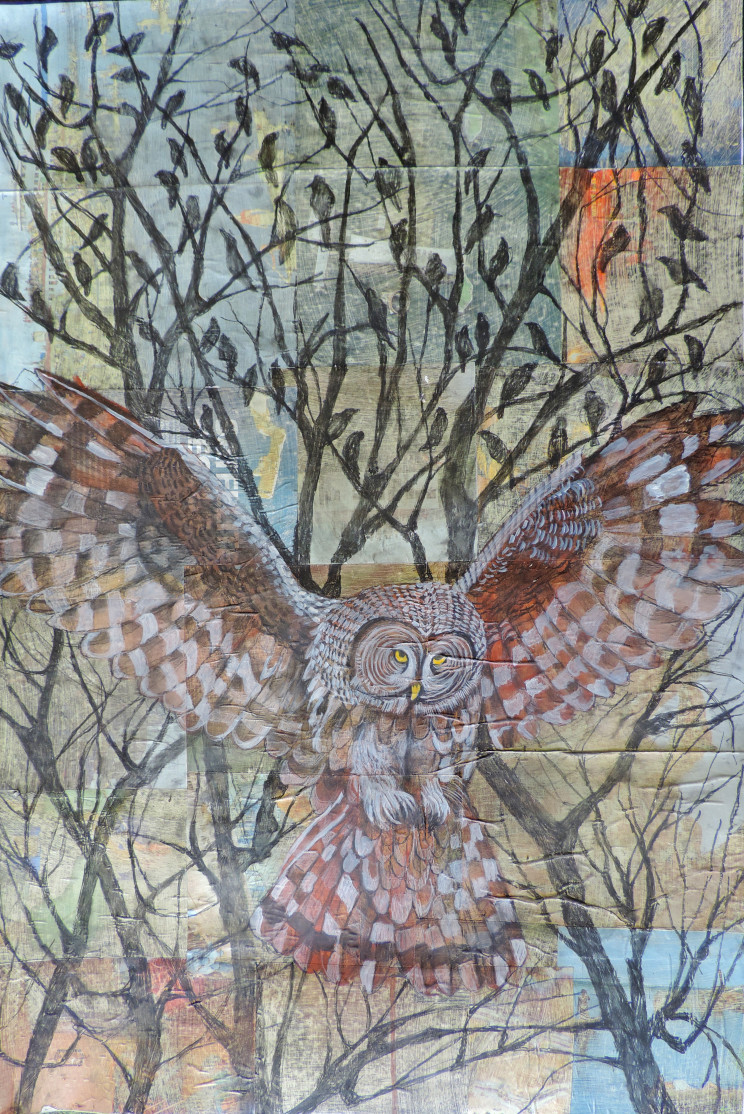 painting of an owl flying